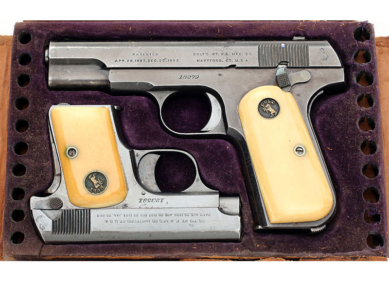 Colt 1908 Pocket Hammerless .380 ACP and 1908 Vest Pocket .25 ACP, cased with factory ivory stocks.
